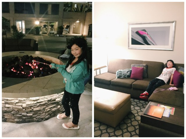 S'mores back at the hotel before retreating in our comfy suite