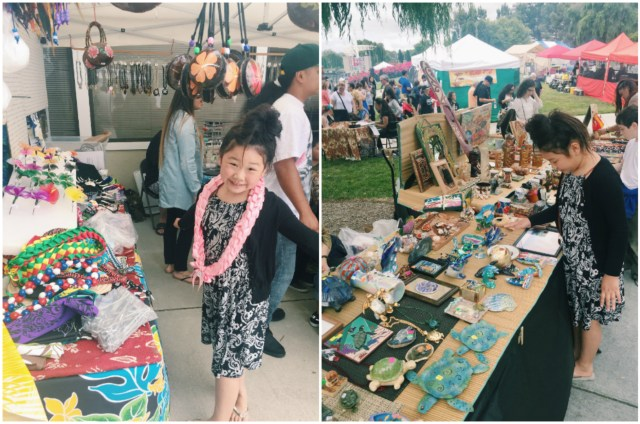 Checking out the booths at the Polynesian festival in Foster City.
