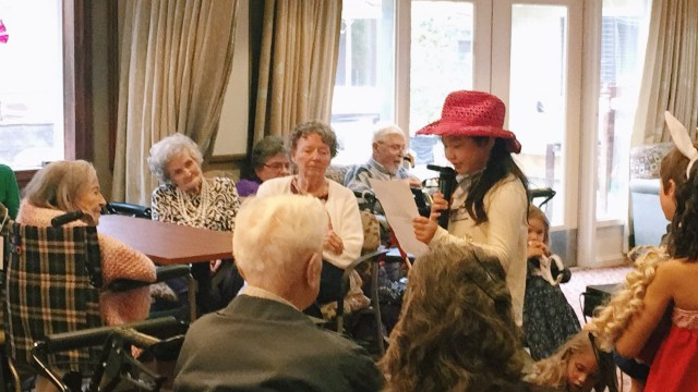 "Performing her favorite ""This Land Is Your Land"" song at an elderly home in Sunnyvale"