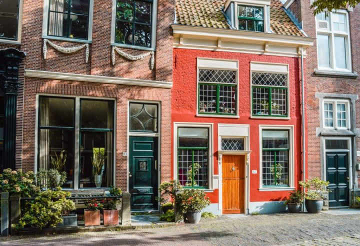Historic houses in the streets of Leiden.