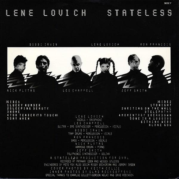 Lene Lovich Stateless inner sleeve