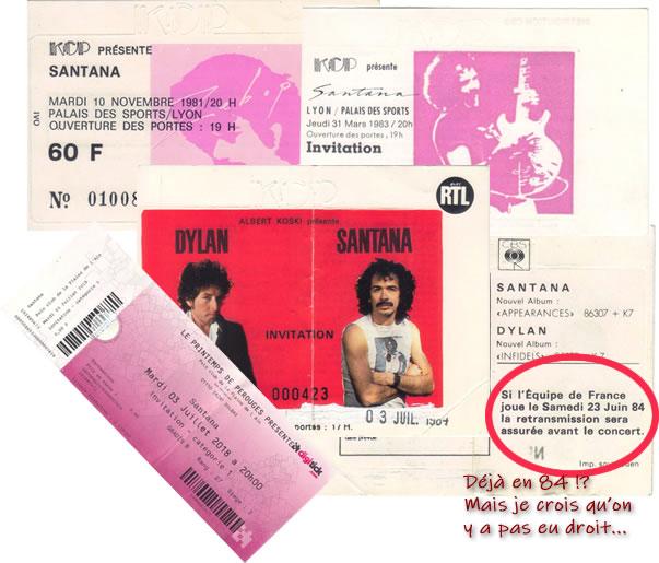 Les tickets de conscerts de Carlos Santana