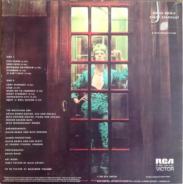 Ziggy Stardust, 1972, pochette verso