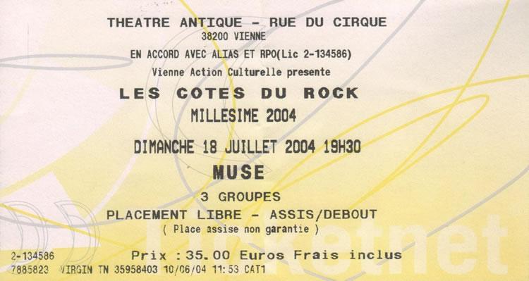 Les Côtes du Rock 2004, billet