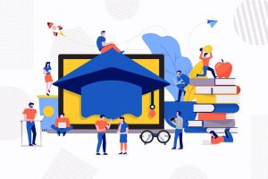 Illustrations design concept teamwork create education e-learning school. Vector illustrate.