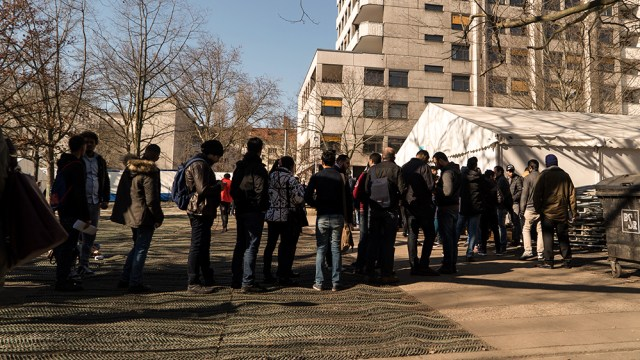 Refugees at State Office for Health and Social Affairs in Berlin