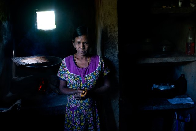 Kunarathiram Soba has suffered from heart problems since her husband was killed during the war. Like many widows, she still wears a bindi, a red dot on her forehead to indicate that she is married, because she fears being raped or attacked otherwise. 'Rapists fear revenge [from a husband],' she explains.