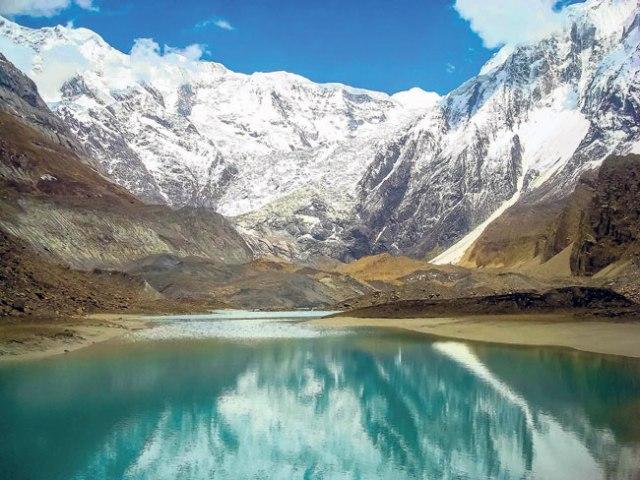 Snowfall lake at Annapurna Base Camp.