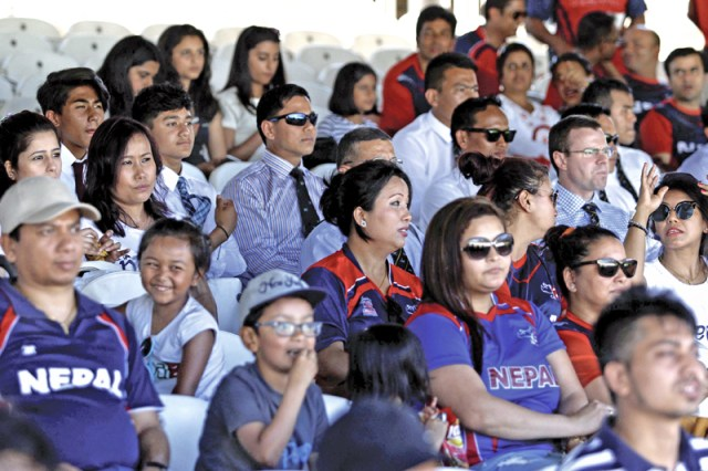Contingent of Nepali cricket supporters watch their team's play against MMC at the Lord's Crickt Ground, London in Engalnd, on Tuesday, July 19, 2016. Photo: THT