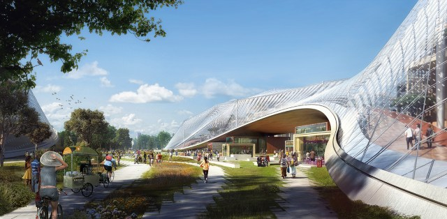 An early rendering of Google's planned building, with mobile glass structures which can be rearranged as the company changes