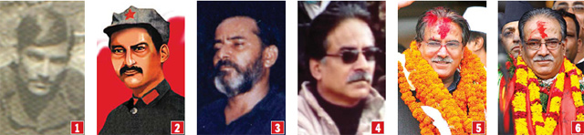 EVOLUTION OF A REVOLUTIONARY: When the war started in 1996, no one had heard of Prachanda. There was only a rare faded photograph of him from the 1970s while he was a young teacher in Gorkha (1). By 2000, a drawing of a man in a turtleneck sweater started appearing in pamphlets and newspapers. Based on various images, Nepali Times cartoonist Subhas Rai even made a likeness of the man from an artistic imagination (2). Then the army got hold of a group photo from a captured Maoist in 2001 that had a bearded Prachanda (3). In later photographs he is seen looking a bit like Omar Sharif (4). Pushpa Kamal Dahal after winning in the 2008 elections (5). And on Wednesday after winning the vote in parliament to be prime minister for the second time (6).
