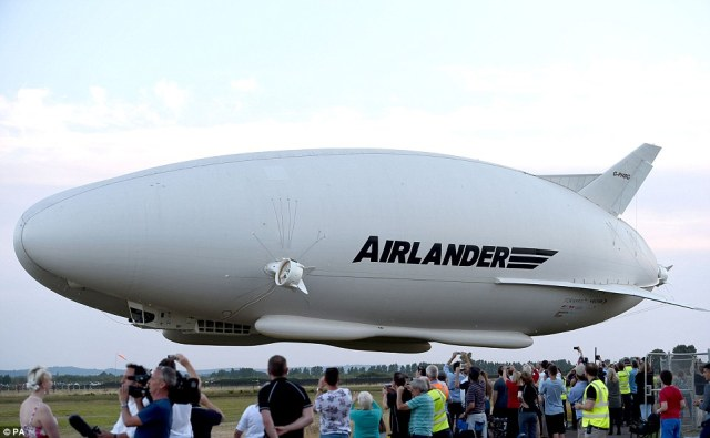 It took off to a large crowd of people who wanted to witness the inaugural flight of the massive aircraft (pictured)