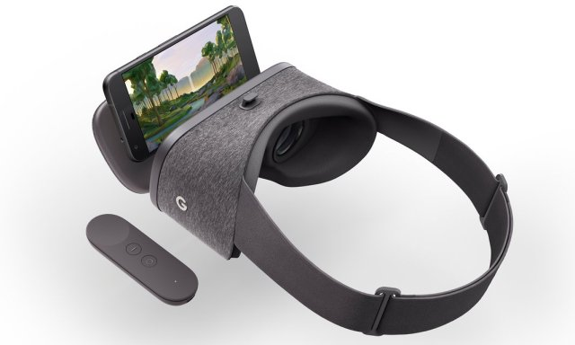 Google Daydream Viewer with the new Google Pixel phone. Photograph: Google