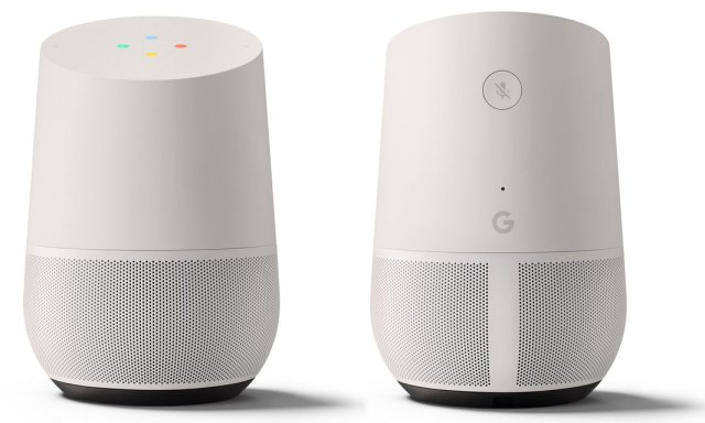 Google's new Home voice-controlled speaker. Photograph: Google