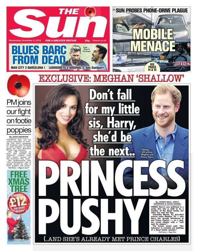 The Sun front page. Photograph: Sun