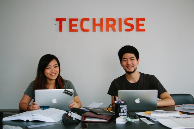 Robyn (left) and Takehiro (right) are co-founders of TECHRISE, a coding bootcamp in Nepal that aims to develop young people into professional web developers. Their validated curriculum is priced much lower than the average fees charged in more affluent countries.