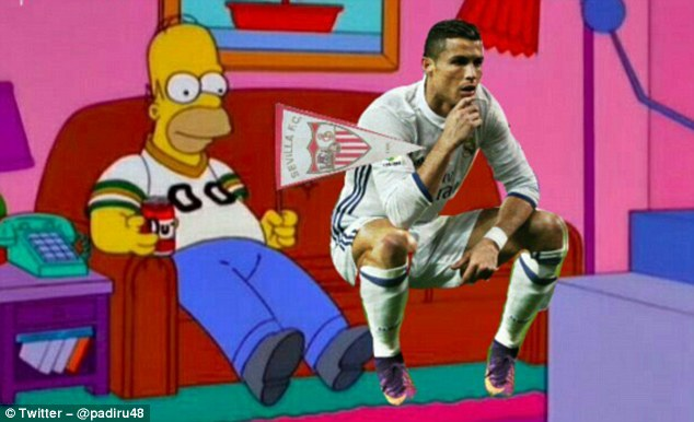 Ronaldo sits down to watch a match with Homer Simpson, who apparently supports Sevilla