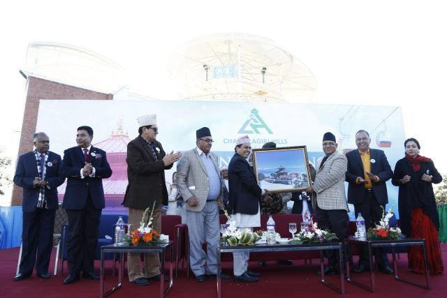 Prime Minister Puspa Kamal Dahal during Chandragiri Cabal car officialy launching ceremony at Chandragiri Hill, Kathmandu on Thursday. POST PHOTO/PRAKASH CHANDRA TIMILSENA