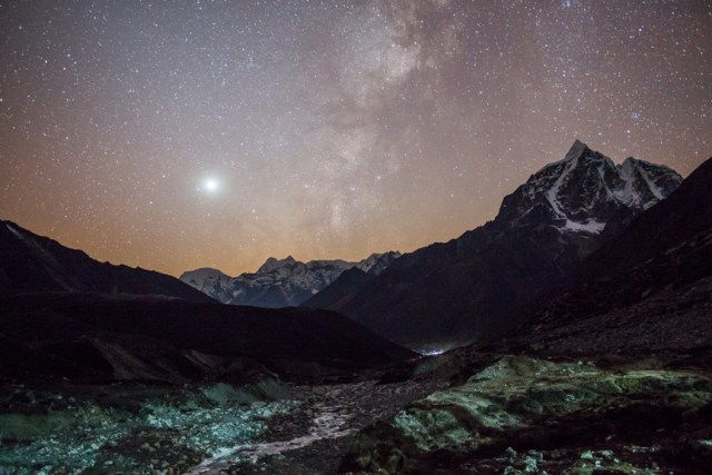 A night view of Imja River valley from Chukum, Solukhumbu district, Nepal.