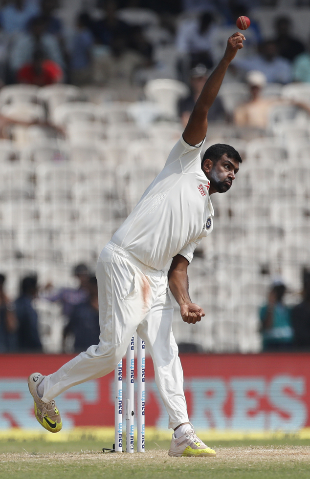India's Ravichandran Ashwin bowls during their fifth day of the fifth cricket test match against England in Chennai, India, Tuesday, Dec. 20, 2016. (AP Photo/Tsering Topgyal)