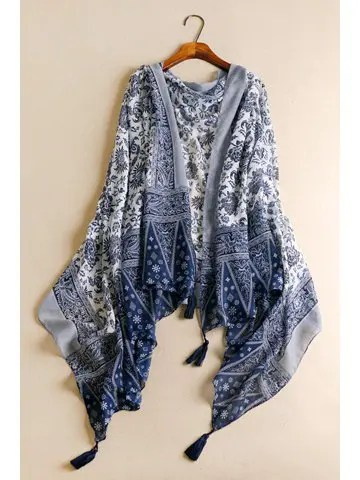 Firstgrabber Chic Tassels Embellished Ethnic Printed Multifunctional Women's Pashmina
