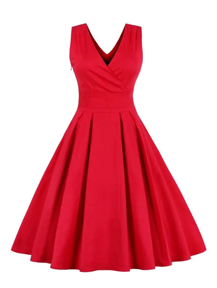 Retro Back Bowtie Sleeveless Tea Length Skater Dress - RED 4XL