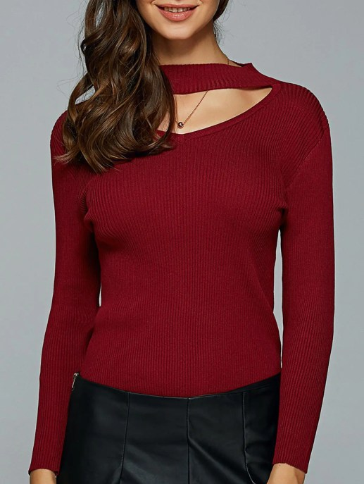Hollow Out Ribbed Knitted Pullover - WINE RED M