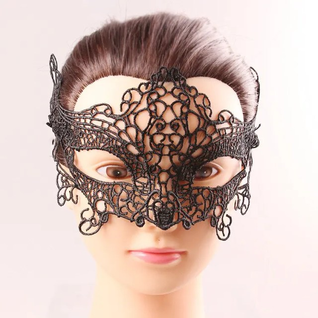 Upper Half Face Black Lace Hollow Out Carnival Masquerade Masks - BLACK