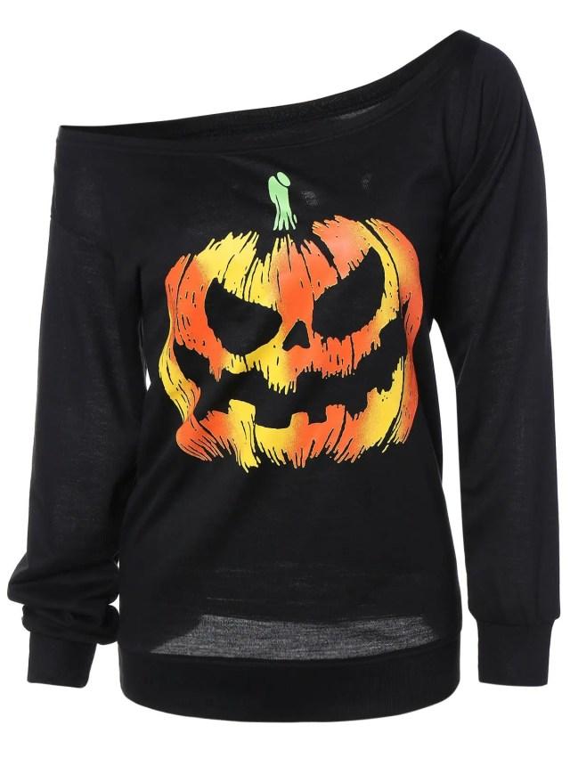 Long Sleeve Pumpkin Print Sweatshirt - BLACK L