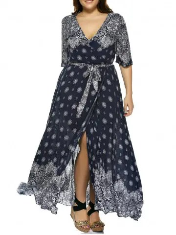 Firstgrabber Plus Size Boho Print Flowy Beach Wrap Maxi Dress