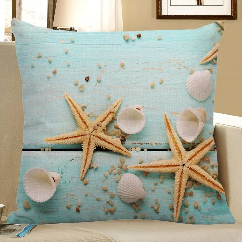 Starfish Sea Shell Printed Linen Pillow Case -