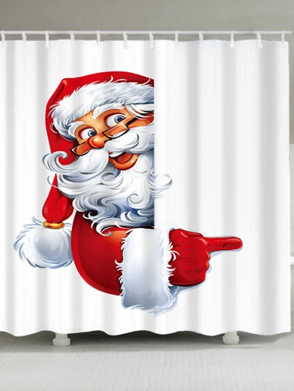 2018 Santa Claus Printed Waterproof Polyester Christmas Bath Curtain WHITE W INCH L INCH In