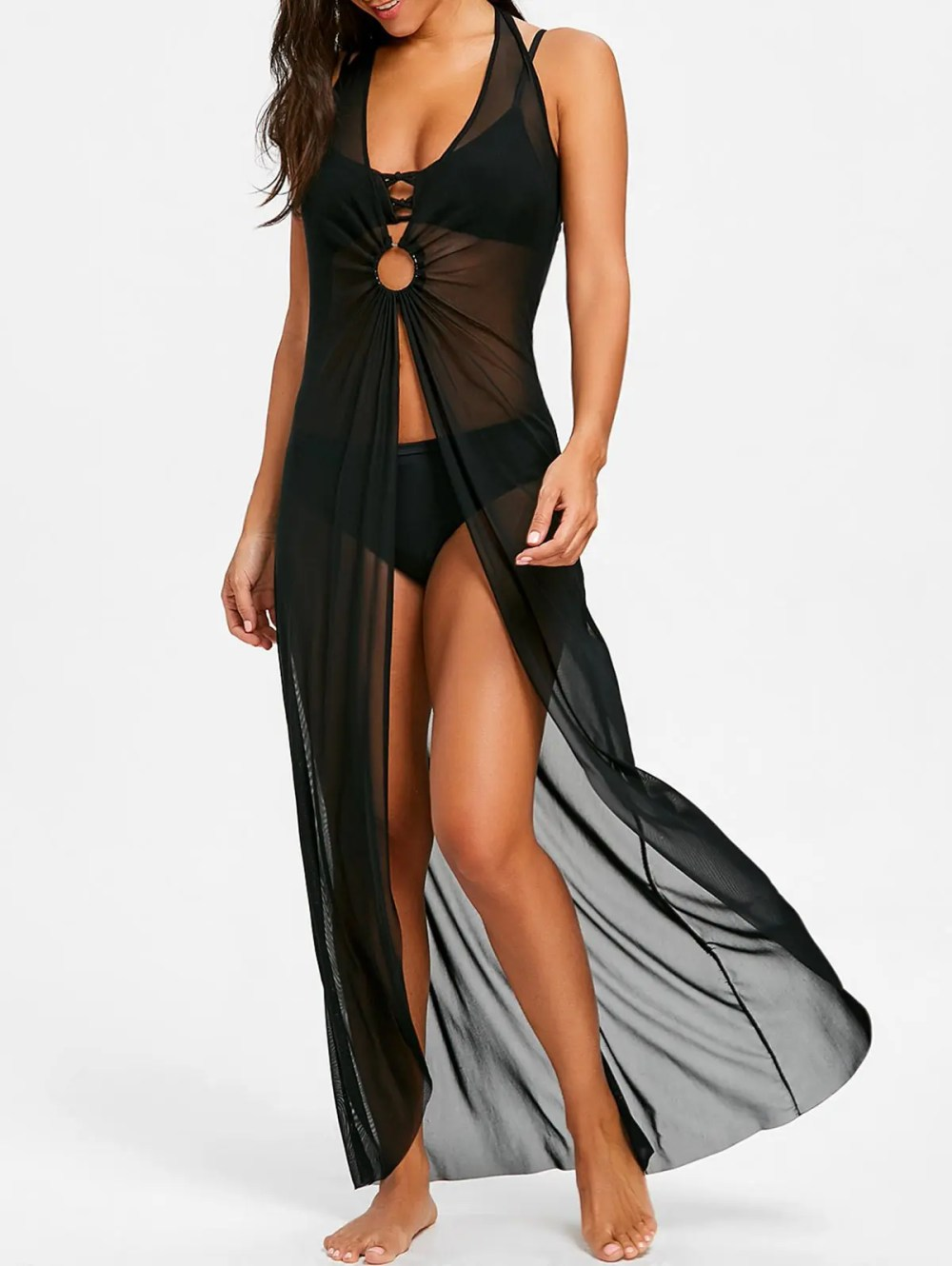 Sleeveless Maxi Cover Up Dress with Hoop
