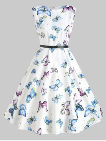 dresslily Vintage Butterfly Print Belted Dress
