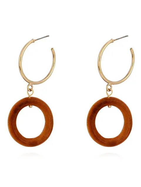 Wood Ring Metal Ring Stud Earrings - LIGHT BROWN
