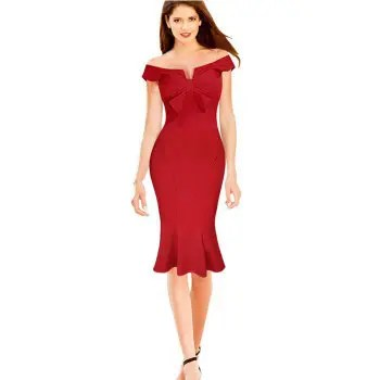 Womens Dress Slash Neck Solid Bow Sheath Sexy Dress