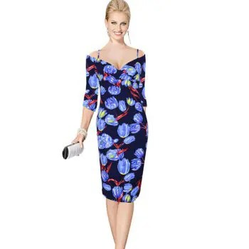 Womens Sheath Dress V Neck Half Sleeve Floral Pattern Midi Pencil Dress