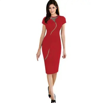 Women s Dress O Neck Colorblock Patchwork Hollow Out Sexy Dress