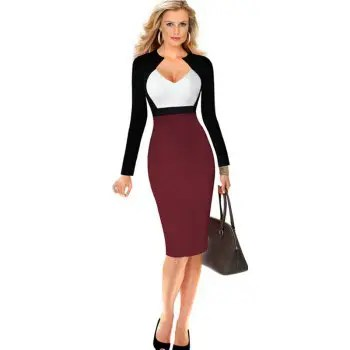 Women s Sheath Dress V Neck Color Block Sexy Dress