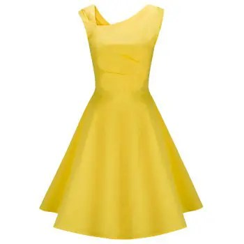 Women Vintage Rockabilly Dress Hepburn  Gown Swing Party Dress