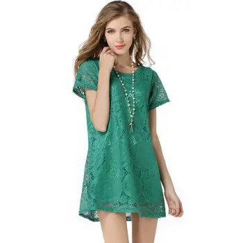 New Dress FashionSummer Dress Women Casual Loose Short sleeve Sexy Lace Hollow Out Dress