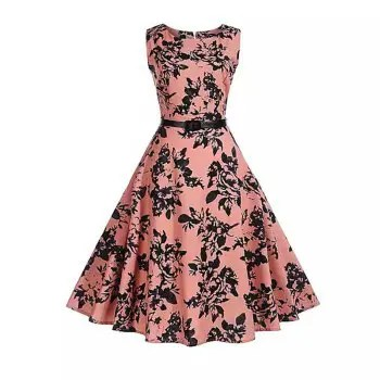 2018 Cotton Women S Dress Rose Retro Dress
