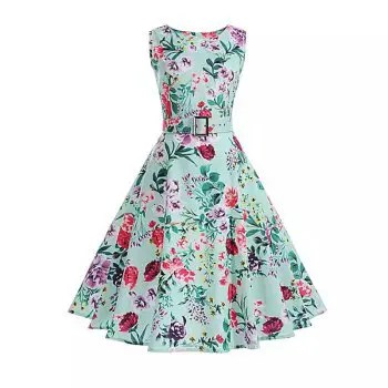 2018 Cotton Printing and Waistband Women S Dress Retro Dress