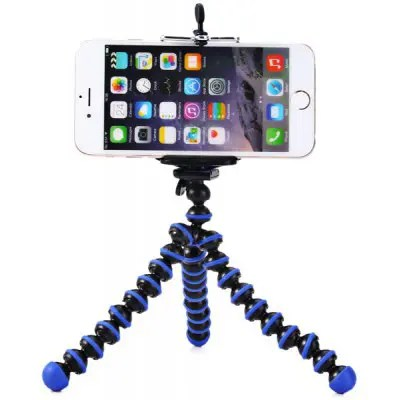 Gearbest Mini Octopus Style Mobile Phone Stand Flexible Tripod  -  BLUE AND BLACK