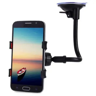Long Arm Car Windscreen Cellphone Holder - BLACK