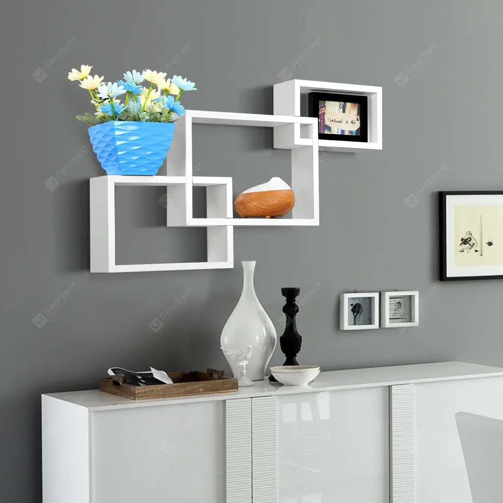 Wall Shelf 3 Piece White Finether 3 Piece Intersecting Rectangular Floating Wall Shelves Wall Mounted Bookcase Storage Display Organizer White