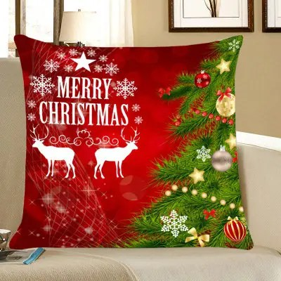 Gearbest Christmas Tree Elks Pattern Decorative Throw Pillow Case  -  W18 INCH * L18 INCH  RED AND GREEN