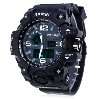 Gearbest SKMEI 1155 Men LED Digital Quartz Watch - BLACK Double Movement Watch Water Resistance Dual Time Day Alarm Light Wristwatch