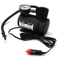 DC 12V 300 PSI Electric Pump Air Compressor Tyre Inflator for Car Motorcycle - Black