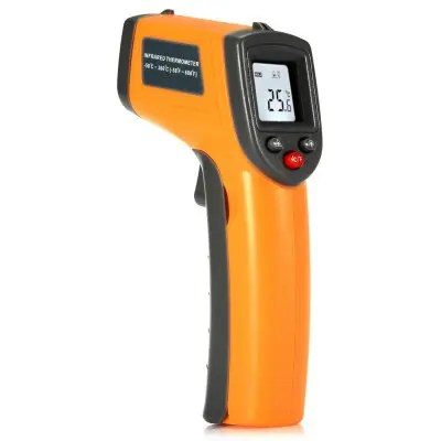Gearbest GS320 Non-contact Digital IR Infrared Thermometer - YELLOW Temperature Testing Instrument with Data Hold Function
